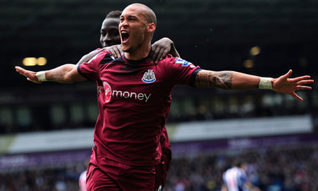Newcastle United's Yoan Gouffran celebrates the opening goal in the Premier League game at West Brom