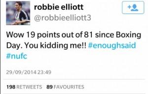 Rob Elliot mener resultatene snakker for seg, med 19 poeng av 81 mulige siden romjulen.