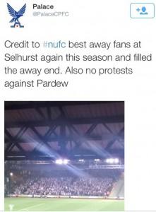 Til og med hjemmelaget var imponert over Newcastle-fansen.